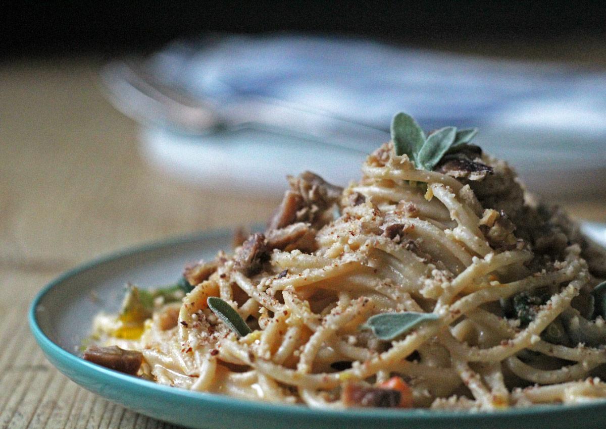 Cashew Carbonara Pasta