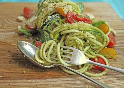 Raw Walnut Pesto Courgette Noodles